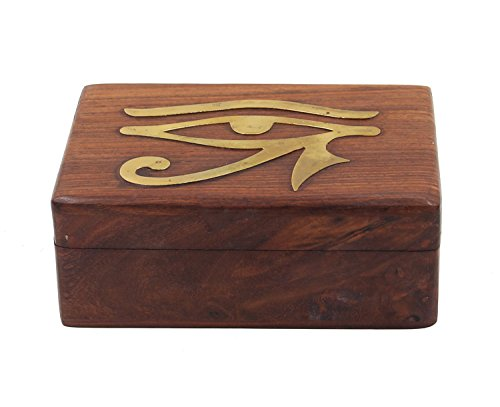 Egyptian Eye of Horus Brass Inlaid Hand Carved Jewelry Trinket Keepsake Wooden Storage Box (Medium) - Inlaid Accent