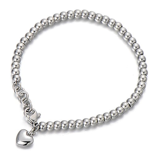 Thick Rope Bracelet (Stainless Steel Link Charm Bracelet for Women Girls with Dangling Heart Charm)