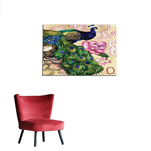 kungfu Decoration Art Decor Decals Stickers Peacock,Fantasy Composition with Woman and Peafowl in Watercolor Artwork,Green Pale Pink Navy Blue Space Poster W19.7 x L15.7 ()