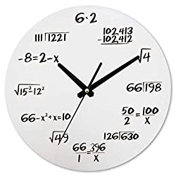 AKAHA Math Clock 12-Inch - Unique Art Design - Mathematical Equations Wall Clock for Classroom, Home, Office.(White-2)