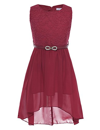 Agoky Flower Girls Lace Sleeveless Asymmetrical Chiffon Wedding Bridesmaid Birthday Party Dress Burgundy -