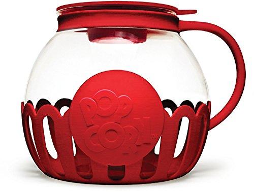 Ecolution Glass Popcorn Popper-Maker, Large, Red
