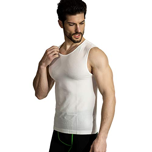 - MD Men's Running Singlet Cool Dry Athletic Tank Top Baselayer Sleeveless WhiteL