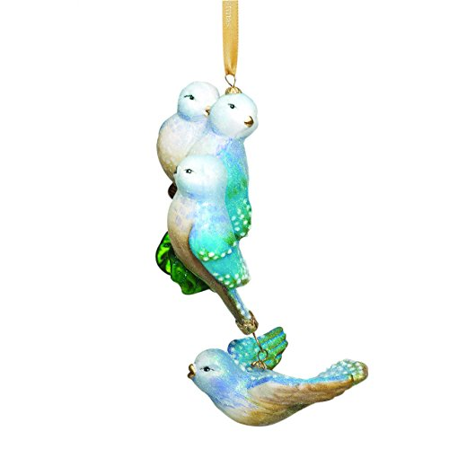 Reed & Barton Four Calling Birds Blown Glass, Christmas Ornament