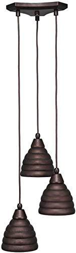 Toltec Lighting 28-BRZ-425 Europa 3 Multi Light Mini Pendant Shown Finish with 6-Inch Bronze Beehive Metal Shade