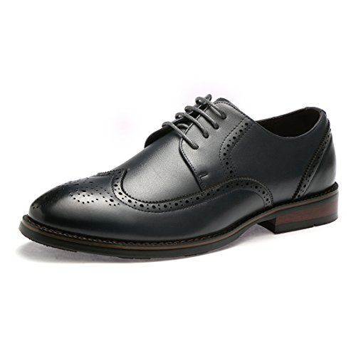 BTDREAM Men's Classic Office Lace Up Pointed-Toe Oxfords Brogue Dress Leather Shoes Dark Blue Size ()