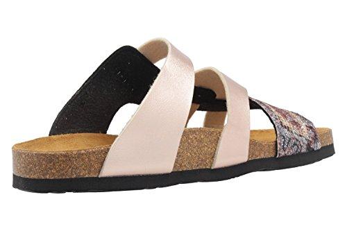 Dr. Brinkmann Damen Pantoletten - Gold Metallic Schuhe in Übergrößen Rosa Metallic