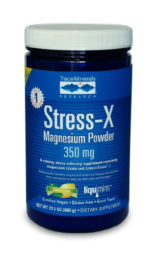 Trace Minerals Research, poudre de magnésium Stress-X, Lemon Lime 350mg, 23,3 onces