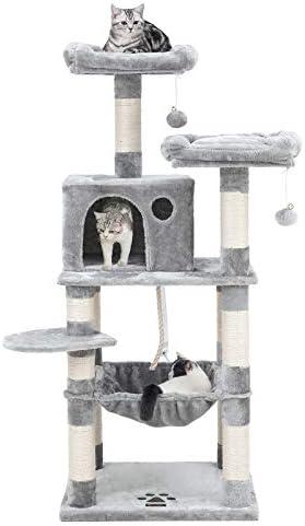 FEANDREA Arbre à Chat, Stable avec Niche, Hauteur de 143 cm, Gris Clair PCT15W