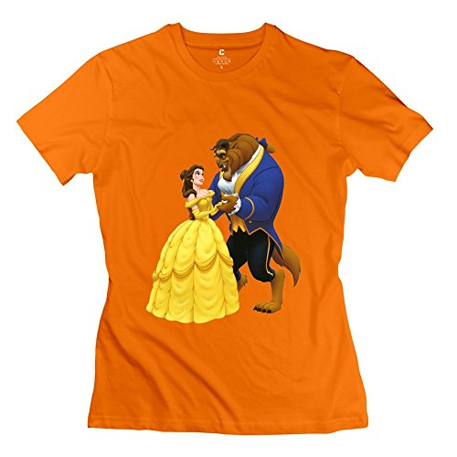 Beauty And The Beast Women's Short Sleeve Tees Size S Orange