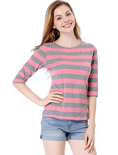 (Allegra K Women's Elbow Sleeves Contrast Color Stripes Top XL Pink Grey)