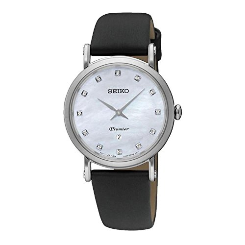 Seiko Women's Diamond 30.5mm Black Leather Band Steel Case Sapphire Crystal Quartz MOP Dial Watch SXB433P2
