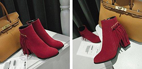 Reißverschluss Stiefel Herbst Hochhackige weibliche Stiefel XZ und Winter Martin seitlicher n7xCwpRq