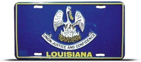 Louisiana State Flag License Metal Plate Wall Sign Tag