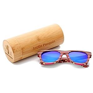 Arctic Penguin Vintage Wooden Polarized Sunglasses Men Wayfarer Eyewear (red, blue)