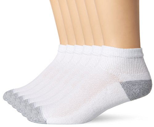 Hanes Men's FreshIQ X-Temp Comfort Cool Vent Ankle Socks, White/Grey, Sock Size: 10-13/Shoe Size:6-12 (Pack of 6) from Hanes