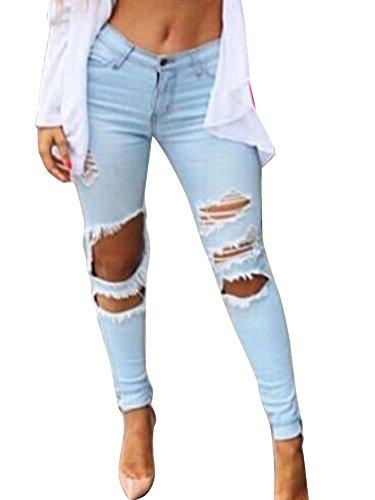 Haute Slim Trou Bleu Jeans Pantalon Pantalon Taille Denim Pantalons Crayon Dchir clair Femme En qvXwEw7d