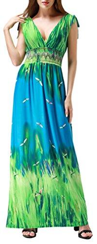 Wantdo Women's Printed Paris Bohemian Summer Maxi Dress Plus size,Medium/Tag M,Green