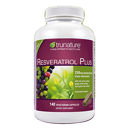 TruNature Resveratrol Plus - 250 mg of Resveratrol Plus 50 mg each of Red Wine Extract, Grape Seed Extract and Green Tea Extract - 140 Vegetarian Capsules by TruNature