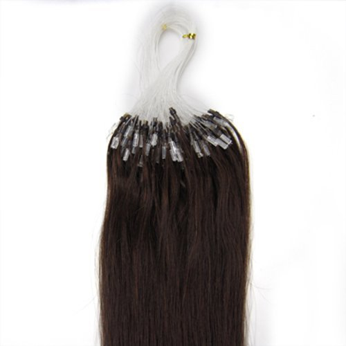 18'' Remy Loops Micro Rings Beads Tipped Human Hair Extensions 17colors for Your Best Selection (#02-dark brown)