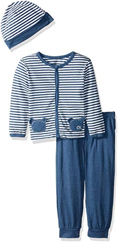 - Calvin Klein Baby Boys 2 Pieces Cardigan Pant Set with HAT, Vanilla/Blue, 0-3 Months