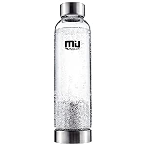 MIU COLOR Borosilicate Glass Water Bottle , 18oz with Tea infuser, Black Sleeve