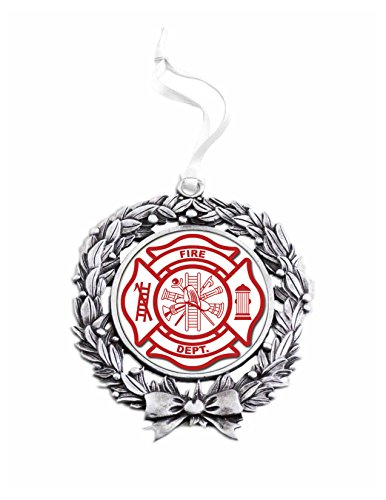 (Fire Department Sublimated Wreath Ornament)