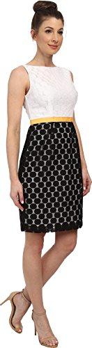 London Times Women's Sleeveless Dot Mesh Sheath White/Black Dress 10