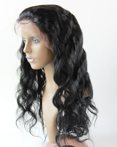 """Full Lace Wigs 18"""" soft-peruvian Hair 100% Remy Human Hair Wig Body Wave #1 Jet Black"""