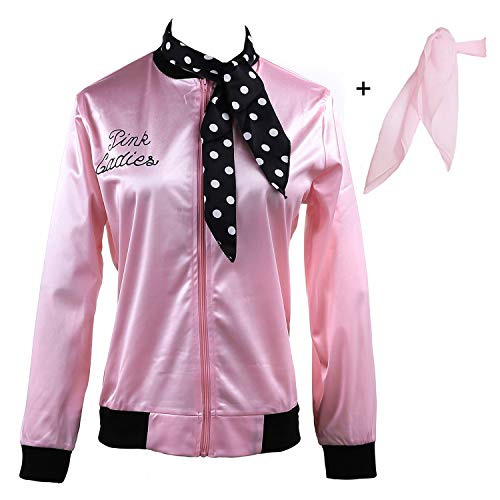 Yan Zhong 1950s Pink Ladies Satin Jacket Neck Scarf T Bird Women Danny Halloween Costume Fancy Dress -