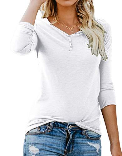 ANIXAY Women's Long Sleeve Henley Button up T Shirt Casual B
