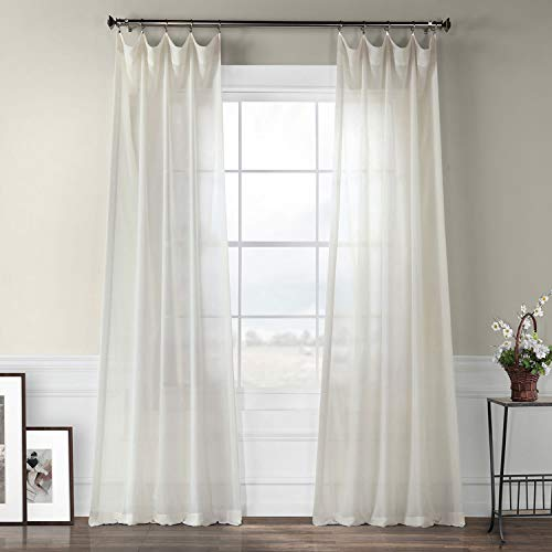 (Half Price Drapes SHFLNCH-M012-108 Faux Linen Sheer Curtain, Gardenia)