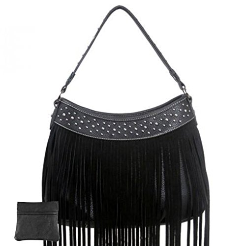 Leather Bundle W Coin Handbag Hobo Black Shoulder Fringe Western Purse qUwTS1qvR