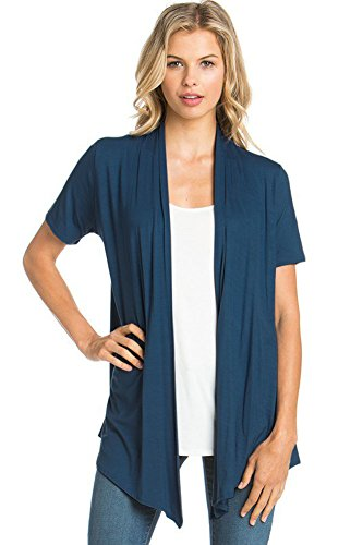 Sleeve Short Open Knit - 12 Ami Basic Solid Short Sleeve Open Front Cardigan Teal Extra Large