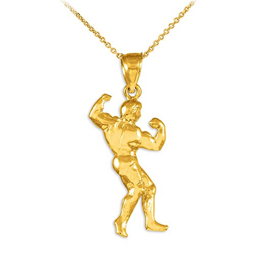 14k Gold Full Bodybuilder Sports Pendant Necklace, 22'' by Sports Charms