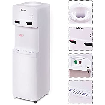 Costway 5 Gallon Water Cooler Dispenser Top Loading Freestanding Water Dispenser w/Hot and Cold Water (White)