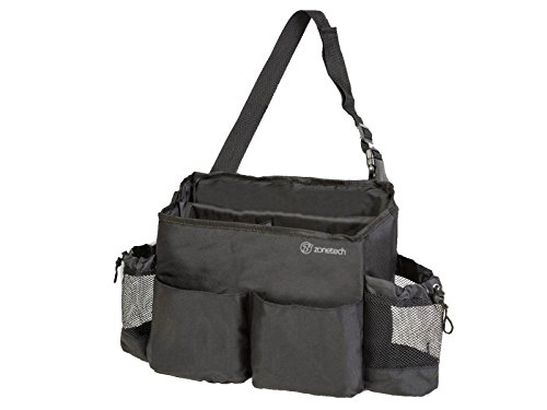 Zone Tech Multi-Pocket Organizer - Classic Black Durable - Passenger Seat Organizer