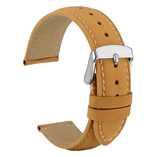 WOCCI 22mm Watch Band - Light Brown Vintage Leather Watch Strap with Silver Buckle (Contrasting Stitching)