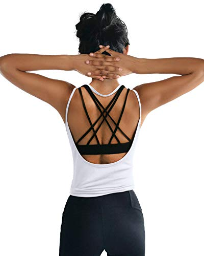 OYANUS Womens Summer Workout Tops Sexy Backless Yoga Shirts Loose Open Back Running Sports Tank Tops Cute Muscle Tank Sleeveless Gym Fitness Quick Dry Activewear Clothes for Juniors White M
