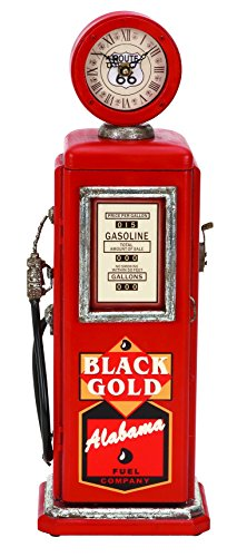 Plutus Brands Wood Gas Pump Clock Red for Time Track