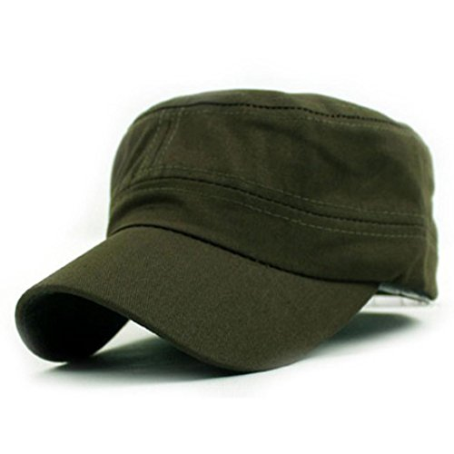 AIMTOPPY Men Vintage Plain Army Military Cadet Style Cotton Cap Adjustable Hat (Army (Adjustable Home Wool Cap)
