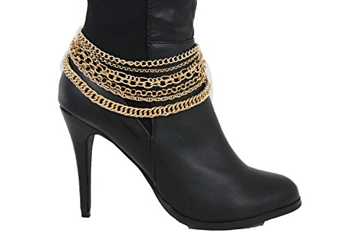 TFJ Women Jewelry Boot Bracelet Multi Strands Charm Gold Metal Chain Links High Heels Shoe Sexy