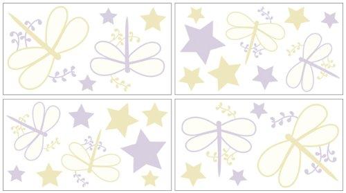 Sweet Jojo Designs Purple Dragonfly Dreams Peel and Stick Wall Decal Stickers Art Nursery Decor - Set of 4 Sheets