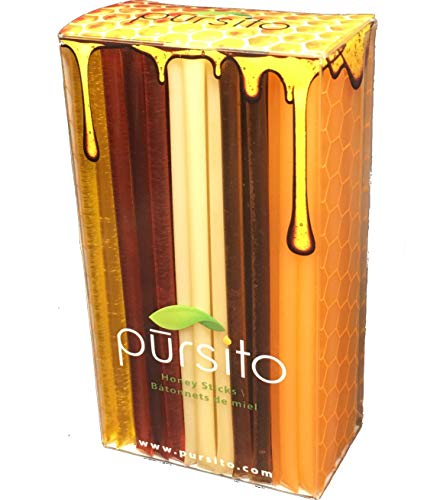 Favorite Flavors Honey Sticks Gift Box Variety Pack 100 Count (20 ea. Flavor Lemon, Peach, Pina Colada, Raspberry & Wildflower) Pursito Brand Honeystix