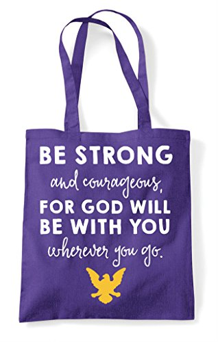 Purple Shopper Strong And With Will Bag God Be Courageous Tote For You TvxPRwwq