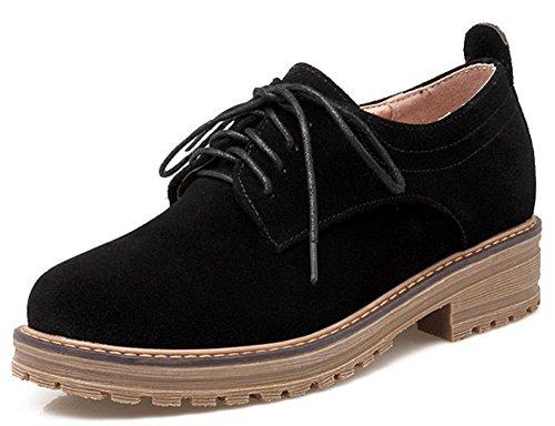 IDIFU Women's Classic Low Chunky Heel Platform Low Top Lace Up Oxfords Shoes Black 4 B(M) US by IDIFU