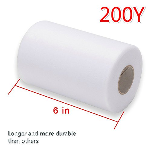 Haperlare 6 Inch x 200 Yards (600FT) White Tulle Rolls Tulle Spool White Tulle Fabric Rolls Wedding Tulle for Gift Bow Craft Tutu Skirt Wedding Party Decorations by Haperlare (Image #4)