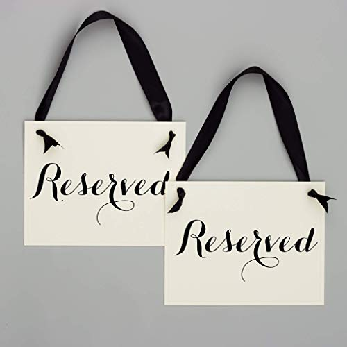 2 Reserved Signs Wedding Chair Seat Banners Party or Event | Set of 2 Saved Seating for Wedding Ceremony, Reception, Conference | Black Ribbon | Ivory -