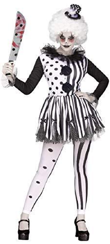 Ladies Harlequin Killer Clown Circus Jester Horror Halloween Fancy Dress Costume Outfit (UK 12-14)