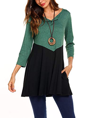 Work Shirts,Women's Henley O-Neck Pleats Button Front Color Block Casual Polo T Shirts Top with Pockets XXL Green ()